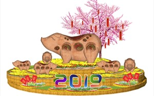 Đến Lễ hội hoa xuân Sun World Danang Wonders, choáng ngợp trước linh vật heo Đông Hồ khổng lồ